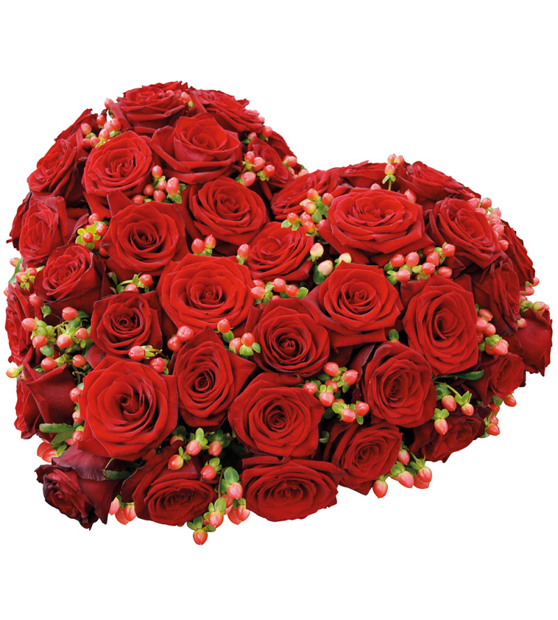 Heart Shaped Red Center Piece Flower with Base