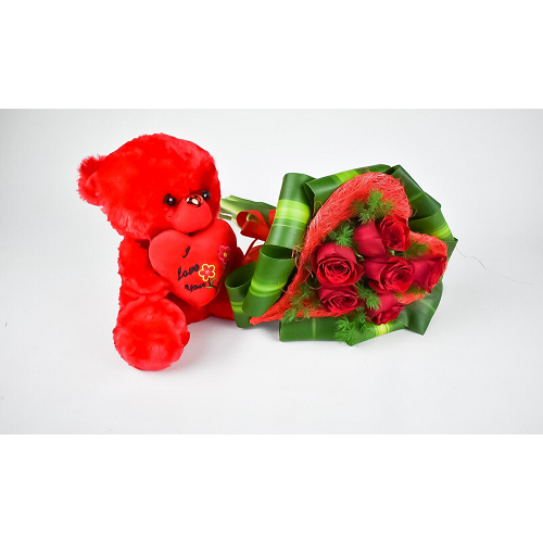Red Rose Heart Bouquet With Bear Red Love