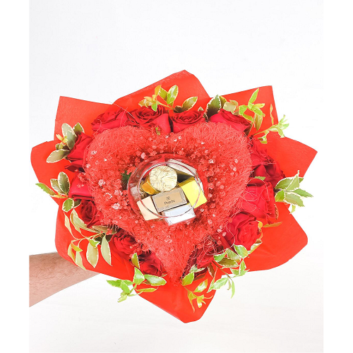Heart Shaped Rose And Chocolate Bouquet Red Love