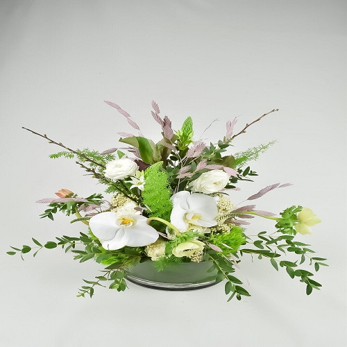 Mixed Flower Arrangement - white Flower with Base