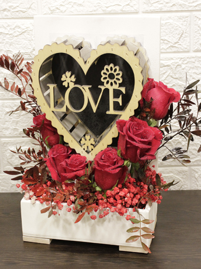 wooden heart Red Love