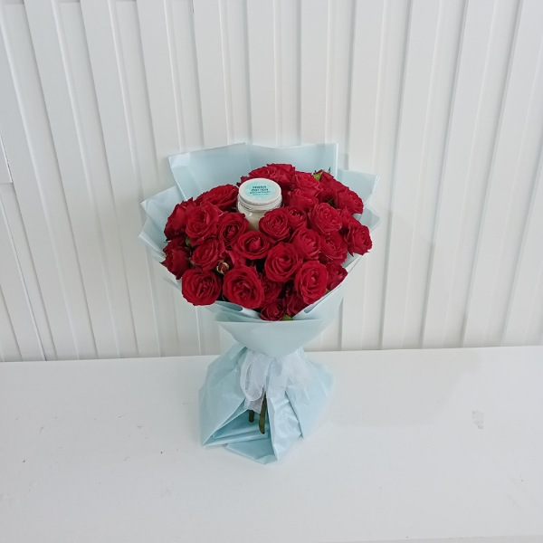 Hand bouquets baby rose with fresh cotton scented Flower Accessories