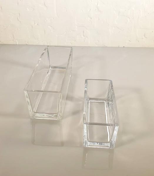 Set Of Oval Glass Pots & Vases