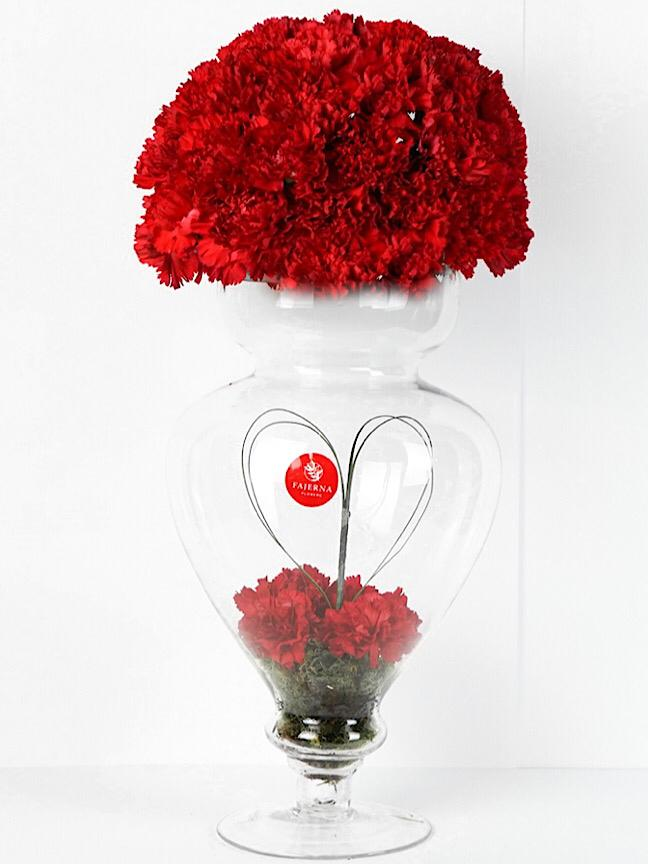 hayate Red Love  Flower with Base