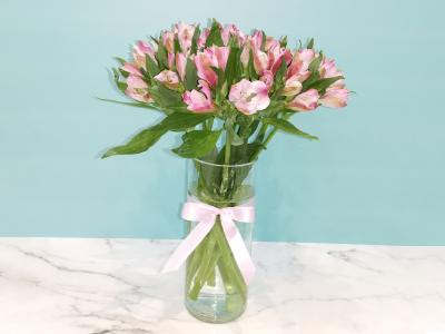 Alstromaria Pink Vase Get Well Soon