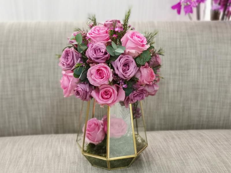Pink Gold Vase Flower with Base