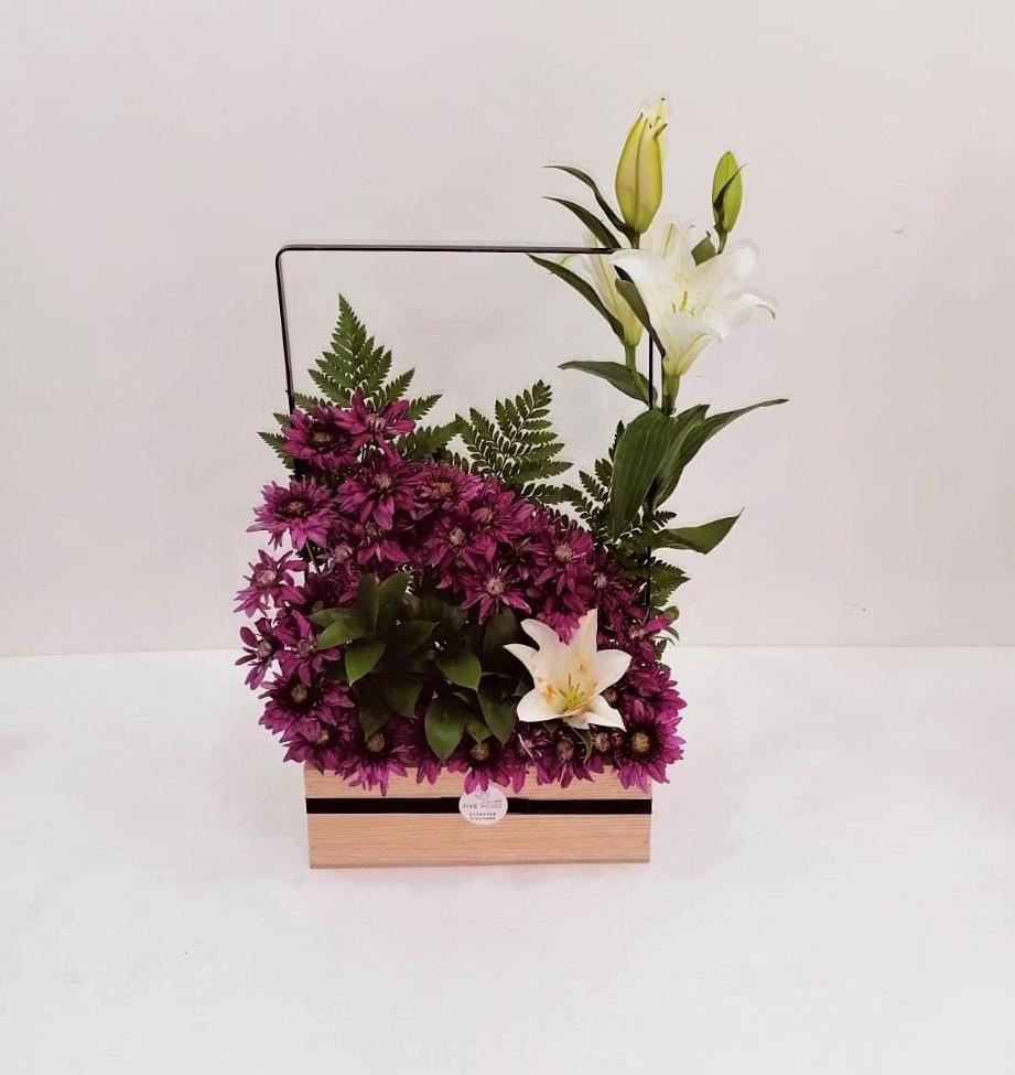 حامل خشبي 1 زهور مع قاعدة