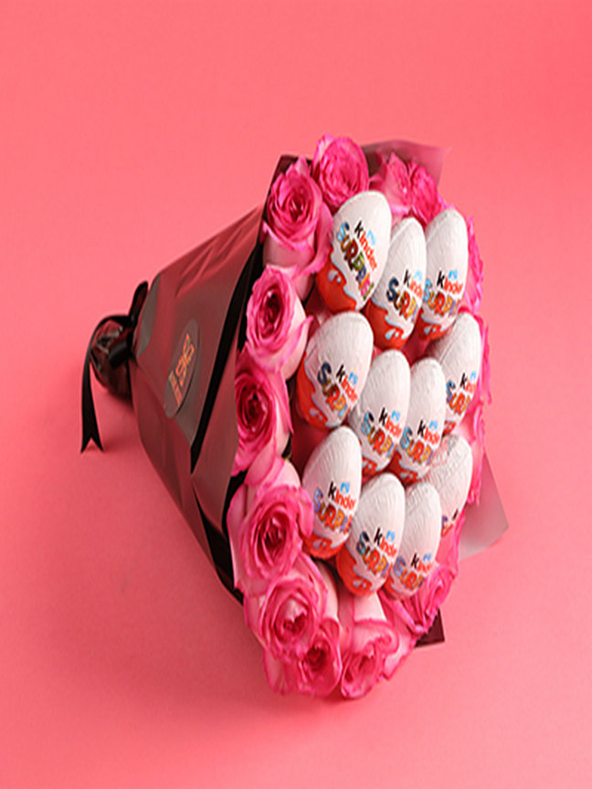 Kinder Chocolate And Roses Bouquet Bouquets