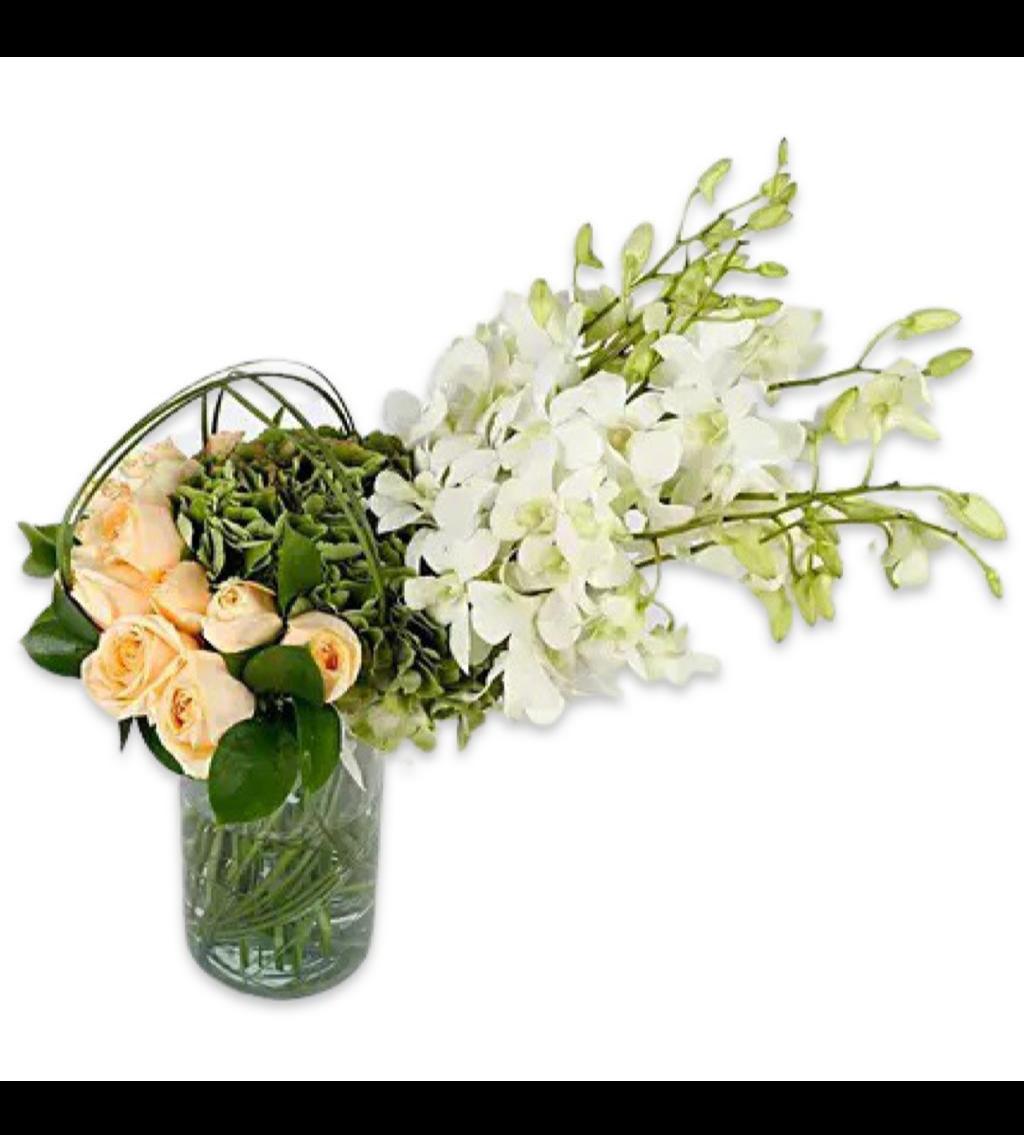 مزهرية ورد زهور مع قاعدة