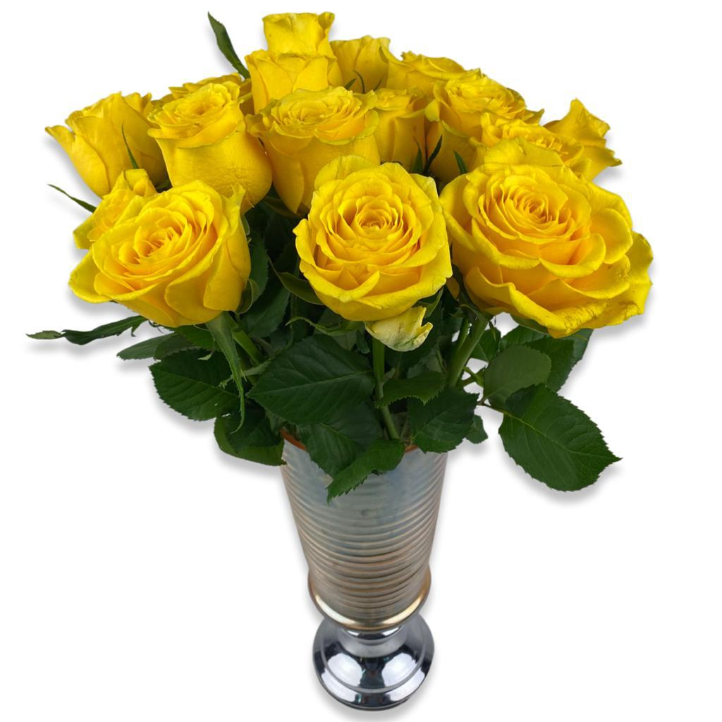 Yellow Roses Arrangement Flower with Base