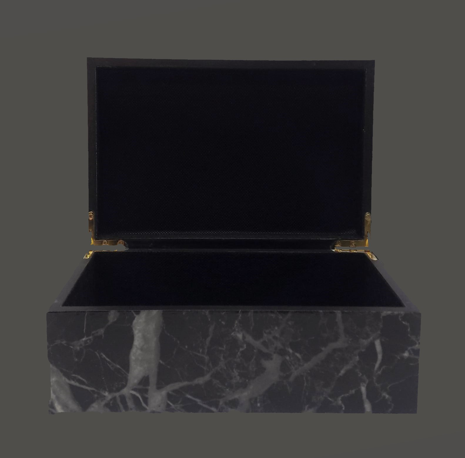 صندوق من الرخام الأسود مع غطاء أواني و مزهريات